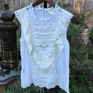 Anthropologie Maeve Lace Sleeveless Top